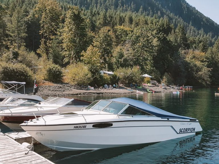 Boat dock at Sproat Lake Campground