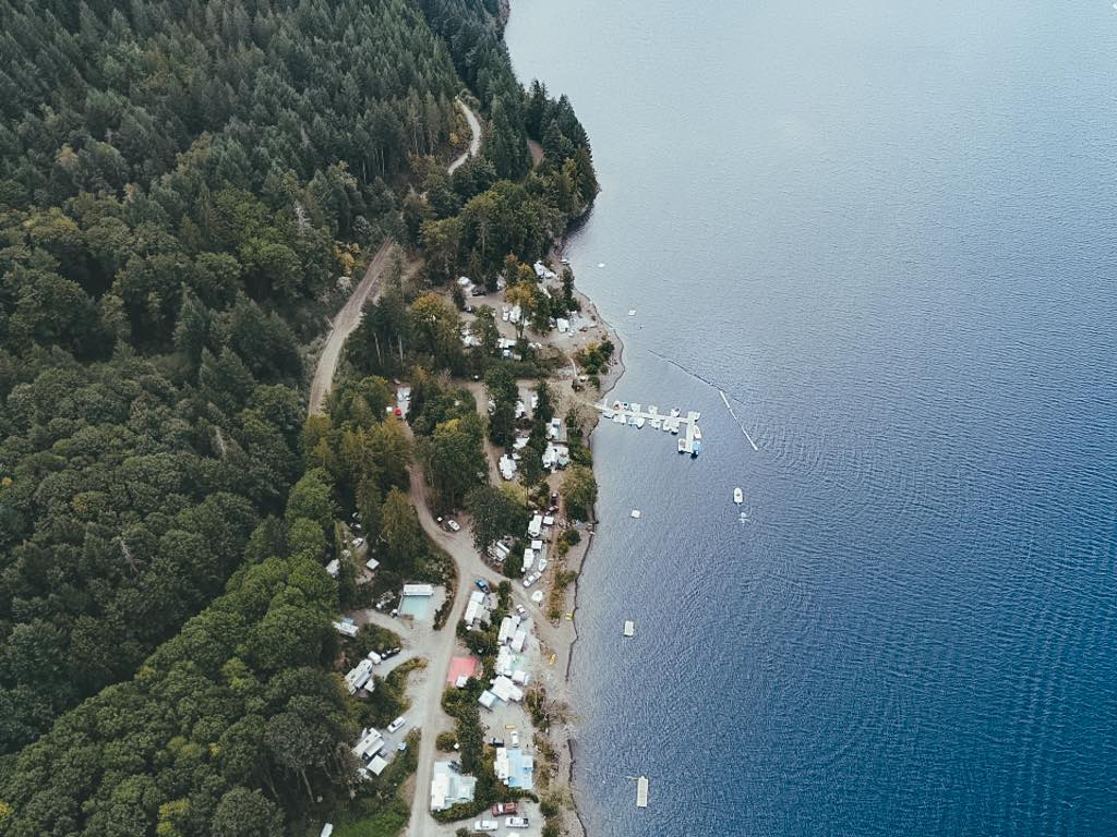 Aerial of Sproat Lake Two Rivers Arm