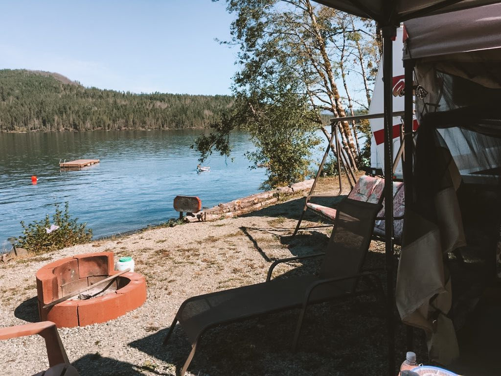 Campsite view at Sproat Lake Campground