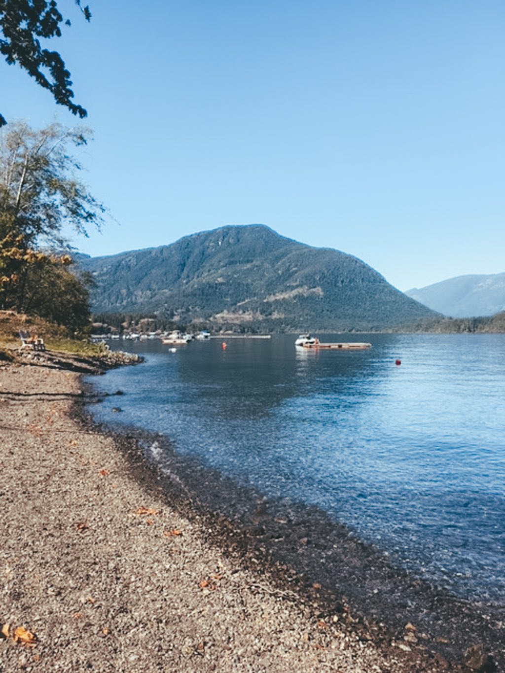 Sproat Lake shoreline at the campground